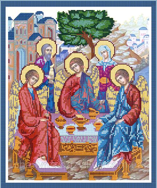 """Схема для вышивки бисером на атласе икона """"Святая Троица"""""""