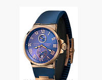СТИЛЬНЫЕ Мужские механические часы Ulysse Nardin (Улис Нардин) синий цв.