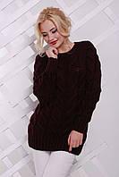 Модный теплый женский свитер крупной вязки. Материал акрил с шерстью. Размер универсальный 42-46.