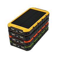 Внешний аккумулятор портативное зарядное устройство Stone Power Bank Solar 15000 mAh с солнечной батареей 2 USB