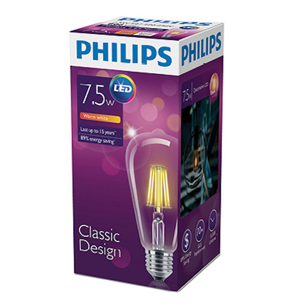 Лампа Эдисона светодиодная филаментная 7,5W ST64 Philips E27 2700K
