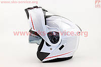Шлем трансформер с очками белый глянец размер  S 55- 56 см
