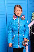 Стильная курточка «Цветы», бирюза