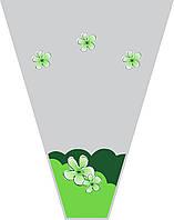 """Пакеты для цветов """"Цветочек салатовый"""" (уп.100шт)10*40*50"""