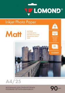 Односторонняя матовая фотобумага для струйной печати, A4, 90 г/м2, 25 листов