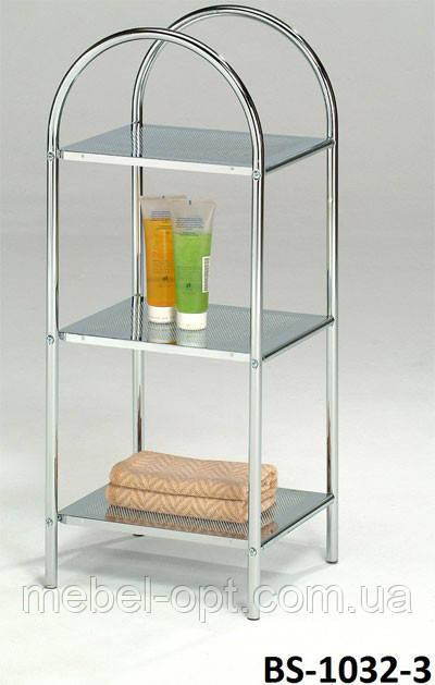 Полка для ванной металлическая, этажерка напольная BS-1032-3