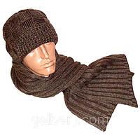 Вязаная мужская шапка с козырьком и шарф объемной ручной вязки