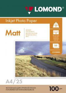 Двусторонняя матовая фотобумага для струйной печати, А4, 100 г/м2, 25 листов