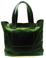 """Shoper  greeny Женская сумка из кожи """"нубук"""" зеленого цвета"""