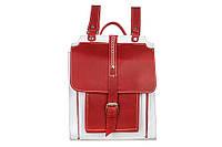 Кожаный красный рюкзак с белыми элементами от украинского дизайнера