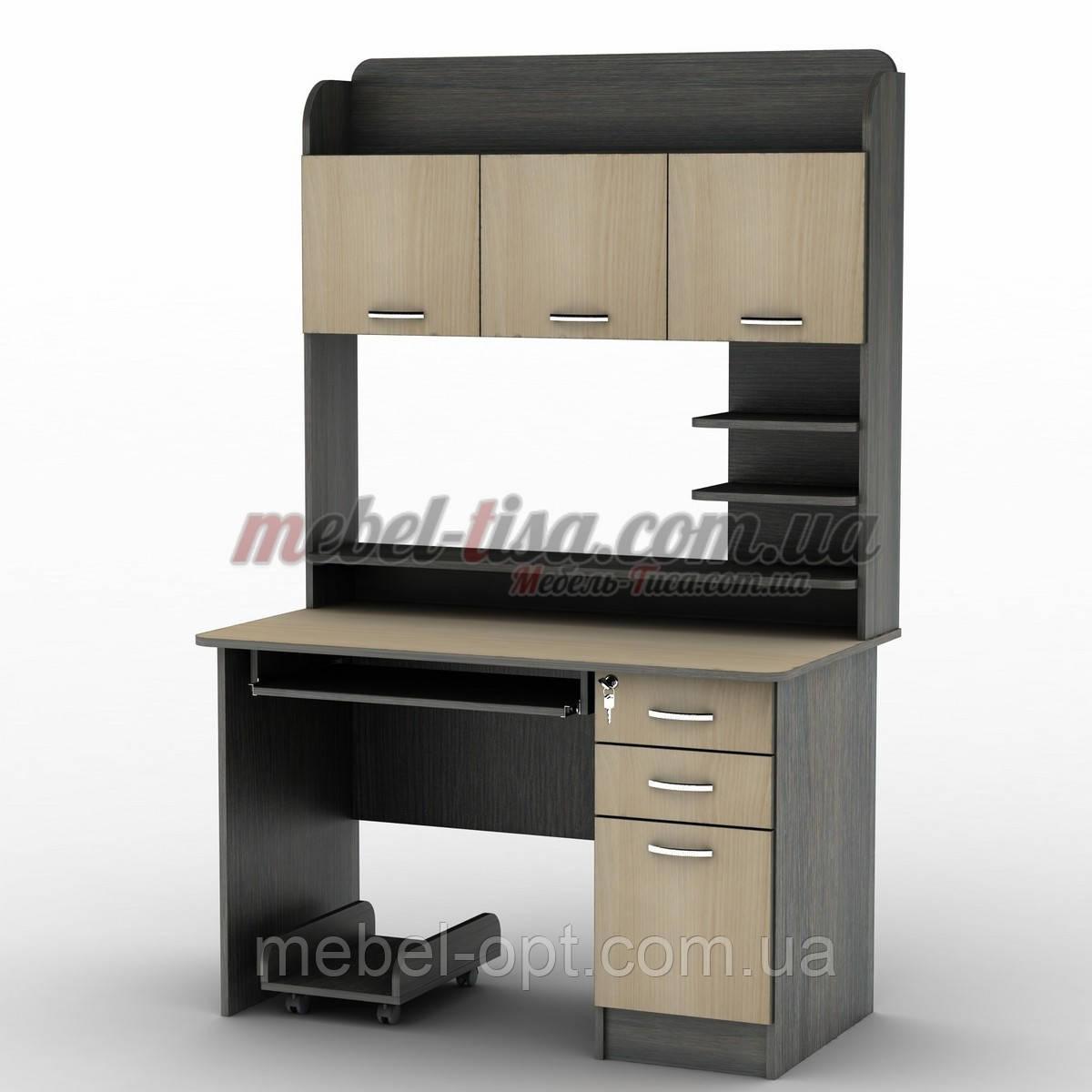 Компьютерный стол СУ-12 с большой вместительной надстройкой, ящичками и местом для процессора