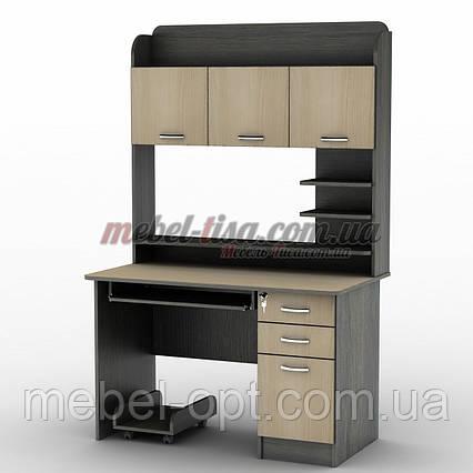 Компьютерный стол СУ-12 с большой вместительной надстройкой, ящичками и местом для процессора, фото 2