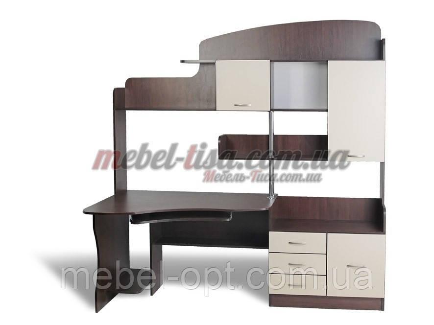 Компьютерный стол СК-14, большой компьютерный стол со шкафчиками, ящичками и надстройкой