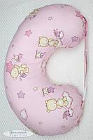 """Подушка для беременных и кормящих мам Юла Мама """"Мишка на розовом"""""""