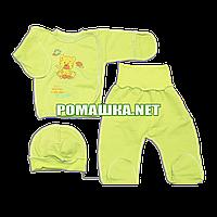 Костюмчик (комплект) на выписку р. 56 для новорожденного ткань ФУТЕР 100% хлопок ТМ Мир детства 3368 Зеленый