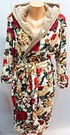 Теплый женский халат с цветочным принтом м, оптом и в разницу