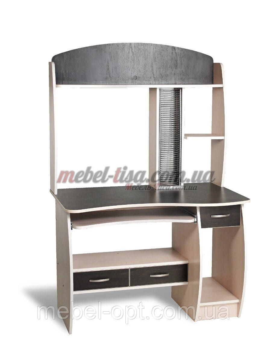 Компьютерный стол СК-9 (ольха темная, зеркальный)