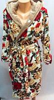 Модный мягкий женский халат на запах с принтом Л, оптом и в разницу