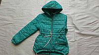Куртка детская  парка ''Сердечки'' для девочки 6-10 лет, бирюзовая