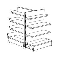Торцевой торговый стеллаж с полками для магазина. Торговое оборудование ВИКО в наличии Киев доставка наложка