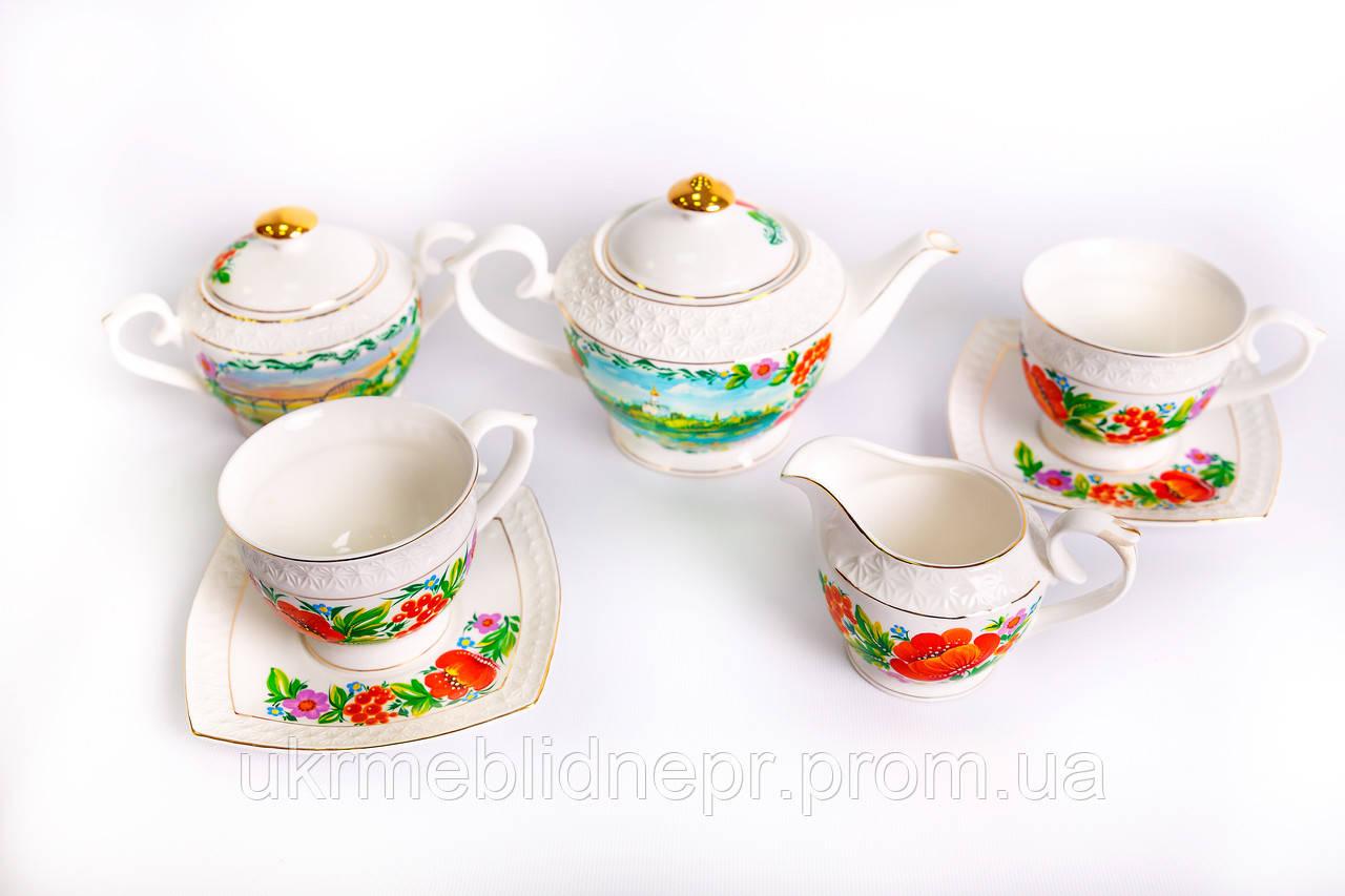 Сервіз чайний на 13 предметів, Петриківський розпис