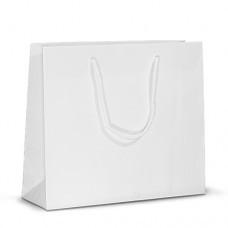 Бумажный пакет 32х10х27 белый с ручками