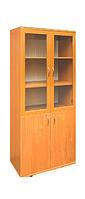 Шкаф книжный с стеклянными дверками в рамочном фасаде 802х403х1816 мм