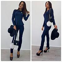 Костюм женский облегающие брюки и блузка с баской джинсовый цвет Ddi246
