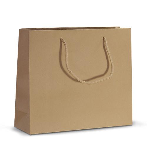 Бумажный пакет 32х10х27 коричневый с ручками