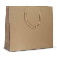 Бумажный пакет 42х13х37 коричневый с ручками