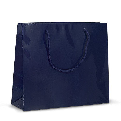 Бумажный пакет 32х10х27 синий с ручками