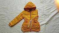 Куртка детская  парка ''Горох'' для девочки 6-10 лет, желтая