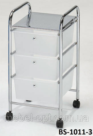 Тележка металлическая передвижная с ящиками для хранения,  BS-1011-3 W, фото 2