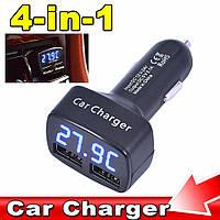 АВТО зарядка USB 2А, тестер,вольтметр, термометр, амперметр в прикуриватель  двойной 4в1, фото 1