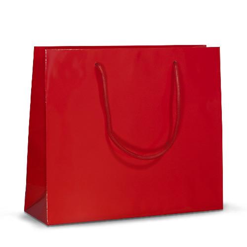 Бумажный пакет 32х10х27 красный с ручками, фото 1