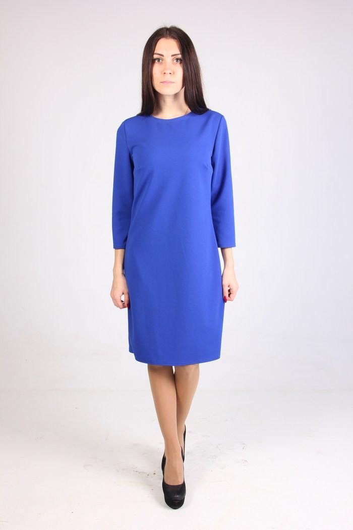 Универсальное прямое женское платье цвета электрик