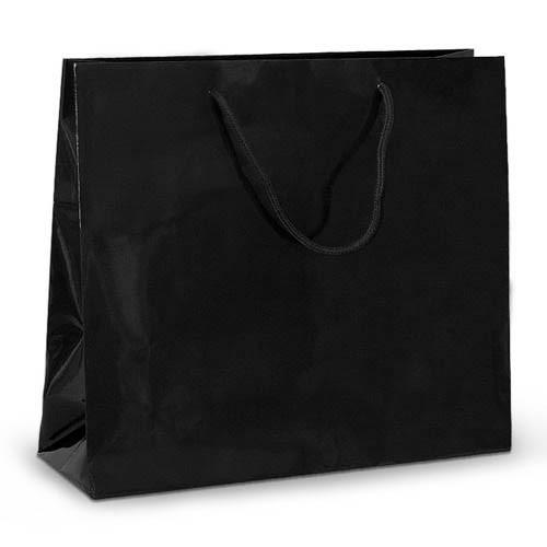 Бумажный пакет 42х13х37 черный с ручками