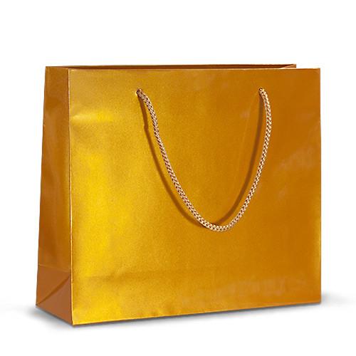 Бумажный пакет 32х10х27 золотистый с ручками