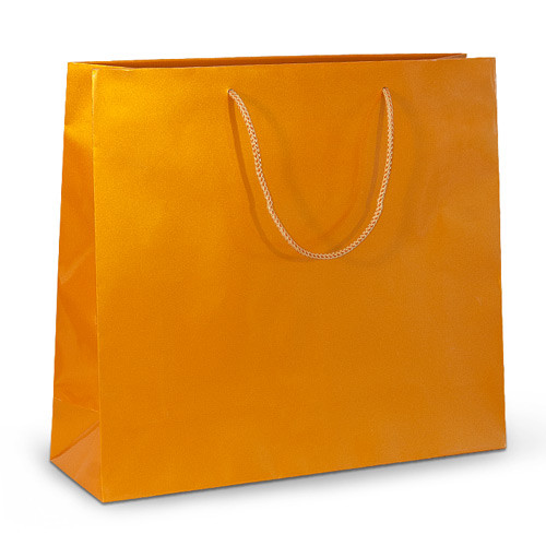 Бумажный пакет 42х13х37 золотистый с ручками