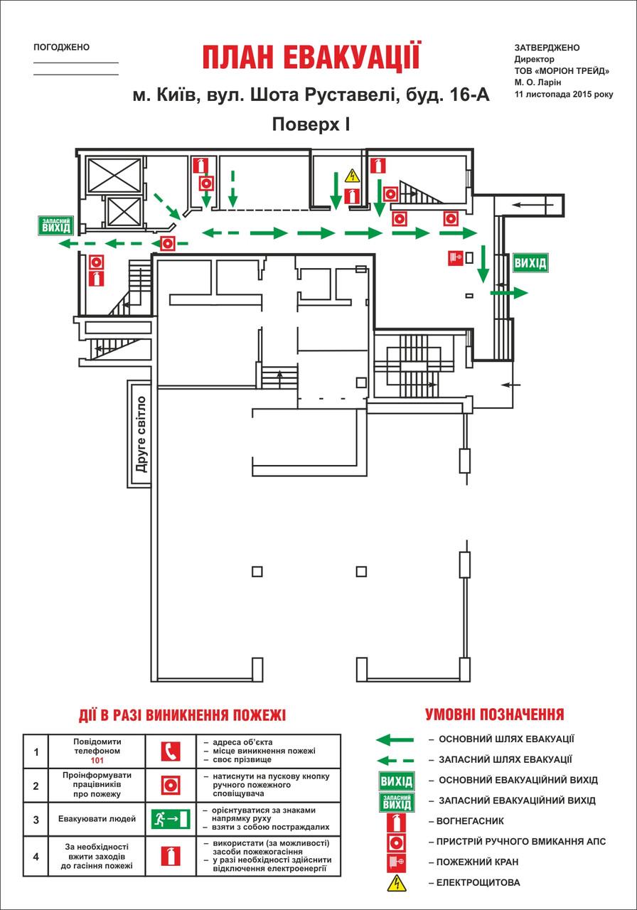 План евакуації із загальною площею приміщень від 300 до 500 м2.