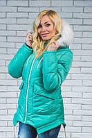 Куртка женская зимняя с мехом мята