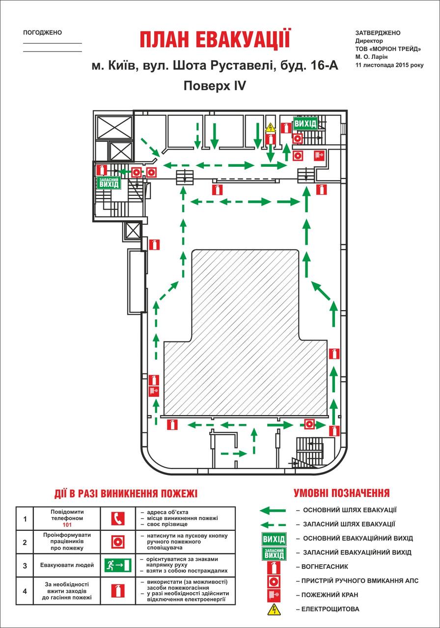 План евакуації із загальною площею приміщень від 500 до 1000 м2.
