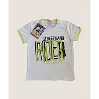 Белая футболка для мальчика с принтом надписи Rider