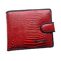 Маленький женский лаковый кожаный кошелек Alessandro Paoli. Черный и красный кошелек из натуральной кожи.
