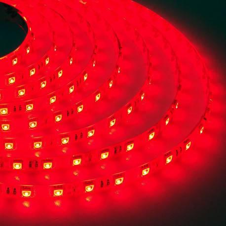 Светодиодная лента SMD 5050, 60 диодов/метр, 12V, 14.4W/m, 18lm, IP65, герметичная, 5 метров, красная