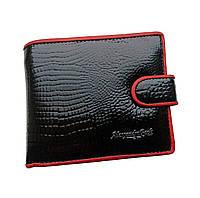 Маленький женский лаковый кожаный кошелек Alessandro Paoli. Черный и красный кошелек из натуральной кожи. Черный