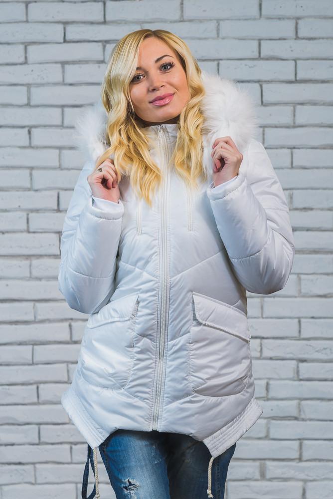Куртка женская зимняя с мехом белая