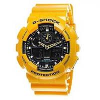 РАСПРОДАЖА! Спортивные часы Casio G-Shock ga-100 (касио джи шок) Уellow