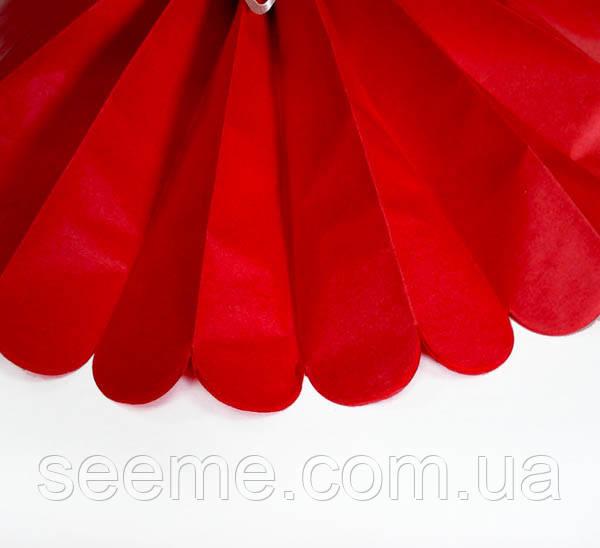 Паперові помпони з тишею «Red», діаметр 35 див.