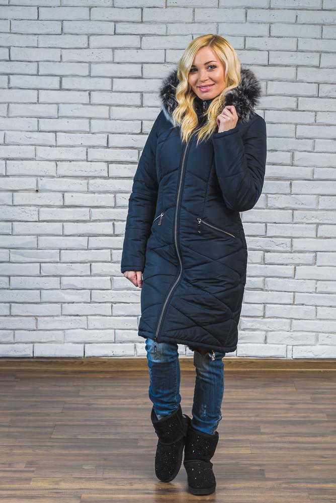 Женское зимнее пальто с мехом  темно-синее